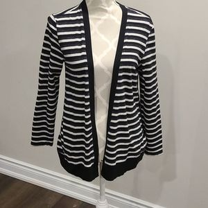 Cable and Gauge blk, grey & WHT striped cardigan